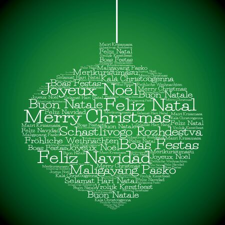 Christmas bauble made from Merry Christmas in different languages in vector format. Çizim