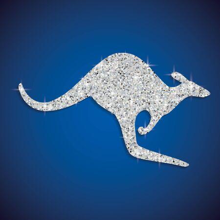 Shiny iridescent glitter Australian Kangaroo in vector format.