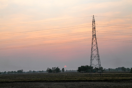 high voltage pole,High voltage tower with sky sunset background. Banque d'images