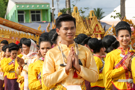 Rasisalai,Sisaket,THAILAND - MAY 31,2019 : Thai group performing Thai music and Thai dancing in ancient Rocket festival parade on May 31,2019 .This festival for agriculture to celebration the raining season. Sajtókép