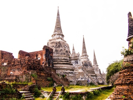 clergy: the ancient  and without clergy temple in Ayutthaya period. Stock Photo