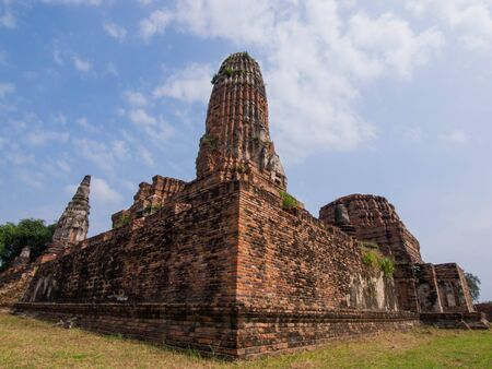the ancient art and construction in Ayutthaya province. Stock Photo