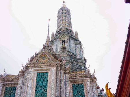 Thai style decoration of Prang at Wat Arun temple. photo