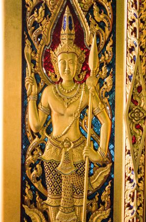 beautiful Thai design of the door of Wat Sing Temple. Stock Photo - 17252763
