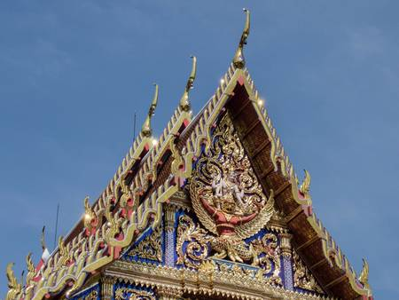 The Gable and Chaufah with beautifully decorated Thai design Stock Photo - 17252768