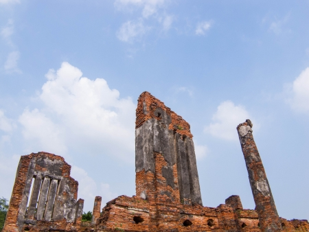 the ruined in Wat Phra Sri Sanphet. Stock Photo