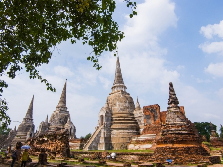 the ancient  and without clergy temple in Ayutthaya period. Stock Photo