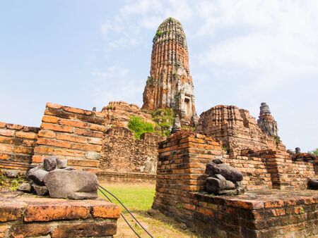 reminisce: a ruined building in a temple in Ayutthaya Province , Thailand. Stock Photo