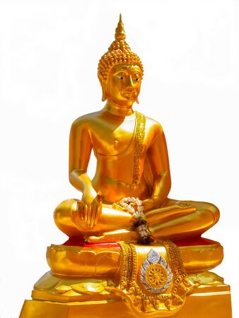 The golden buddha image in meditation posture  Stock Photo