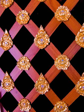 The inerior woodwork of wood lath with gemstone decoration on emblems Stock Photo - 18356842