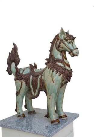 A fine dressed horse - replica standing on granite base. Stock Photo