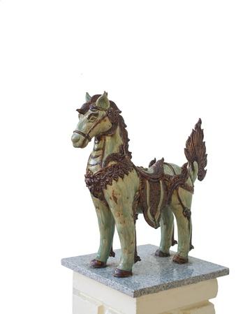 Burmese - styled horse standing on granite base  Stock Photo