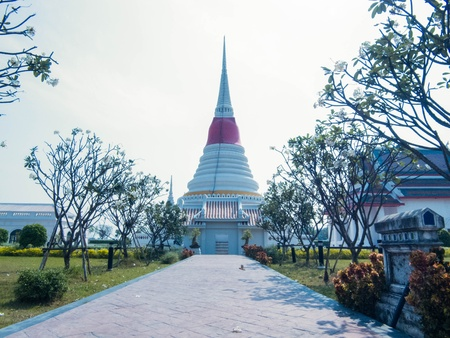 The white pagoda situates on the bank of Gulf of Thailand