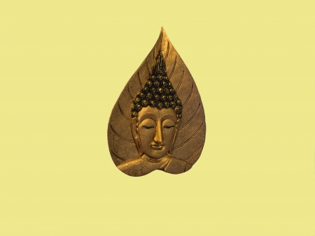 The  Buddha image on replica of golden Bo leaf Stock Photo - 19547716