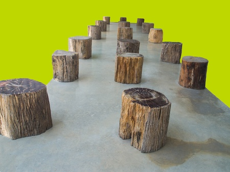 simulate: The destroyed  forest is simulated  by stumps of trees