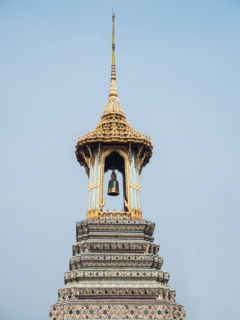 The bell tower of the Temple of the Emerald Buddha  Stock Photo