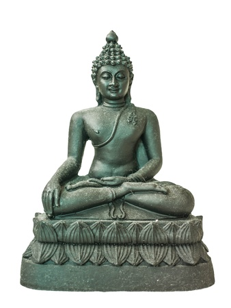 The black buddha statue in meditated position  Stock Photo