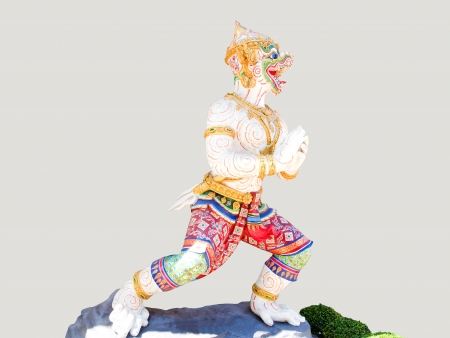Hanuman is a mighty white monkey in Ramayana . He is the son of Swaha and the god of the wind.