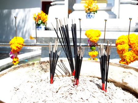 incense sticks: Incense sticks are made of wood or sawdust and used as sacrifices to gods
