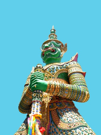 Ravana , the green giant , holds a baton standing guard against all evils in Wat Arun , Bangkok , Thailand                                                                Stock Photo