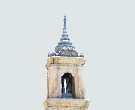 Arched paraphet is the pinnacle that is a demarcation of temple zone  in Buddhist monastery                                                                Stock Photo