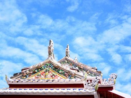 gables:  A pair of decorative gables at top of a building in Wat Bowonniwet Vihara , Bangkok , Thailand