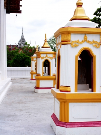 demarcation:  A row of arched paraphet lines a demarcation of temple zone  in Buddhist monastery