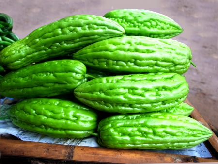 The green  Chinese gourd has bitter taste ,medicinal properties and  helps the appetite                                                                 Stock Photo