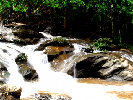 conserved: A low rise of natural waterfall in conserved forest in Chiangmai.                                                                                           Stock Photo