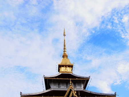gold top:  The gold top tiered pagoda in northern style of Chiangmai Province , Thailand
