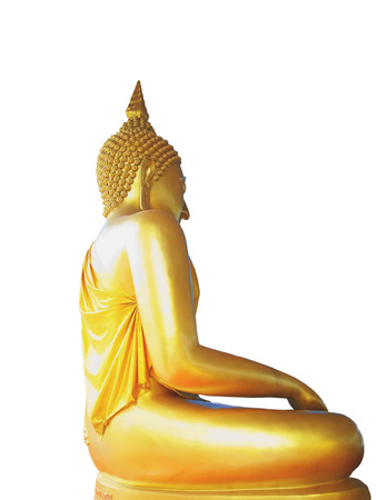 A side view of golden buddha statue in meditation posture                                                                 Stock Photo