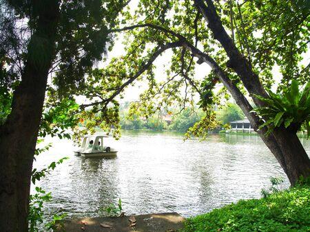 glistening: Vista panor�mica del lago y jard�n con brillante de la superficie del agua
