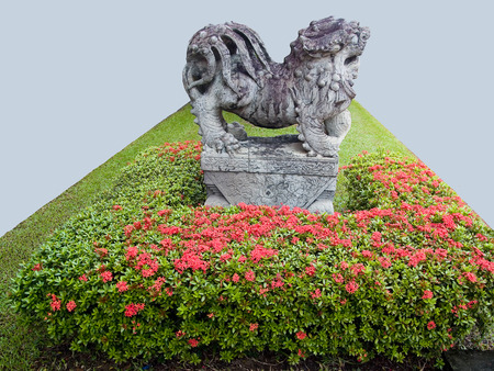 ancient creature: A ballast of chinese ancient creature in a small garden  Stock Photo