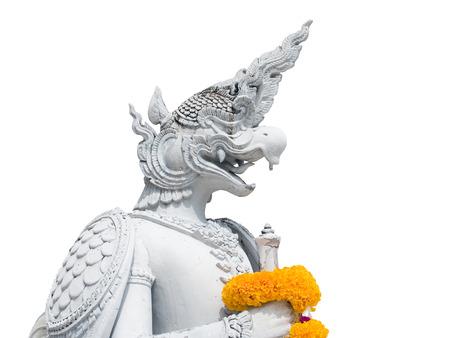Sculpture of bird creature standing in front of Phutthaisawan throne , National Museum of Thailand  Imagens