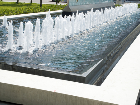Fountains are used to decorate city parks and squares for recreation and entertainment  Stock Photo
