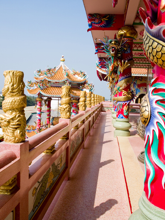 decoraton: A narrow passageway of a  temple  decorated in chinese style