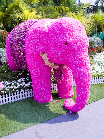 Floral arrangement to be a baby elephant  Stock Photo