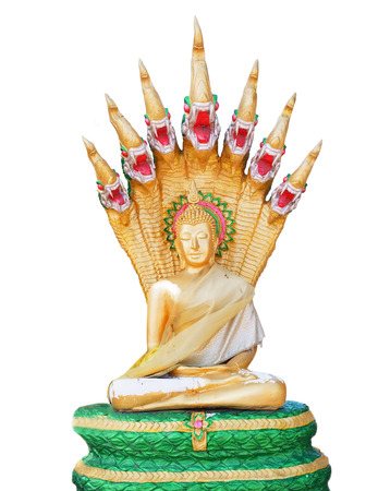 The Buddha statue style sitting meditation with serpent cobra hood spread behind his head covered  This is the Buddha for those born on Saturday