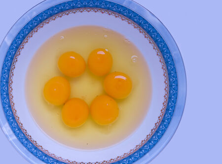 albumin: A cluster of yolk and albumin in a bowl.