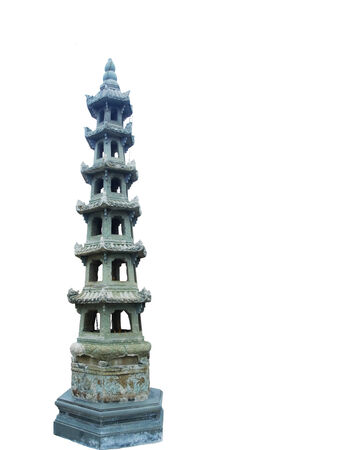 tiers: A chinese styled pagoda with octagonal shape and multiple tiers.