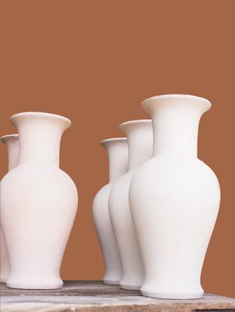 decoraton: Small handmade ceramic vases for flowers.