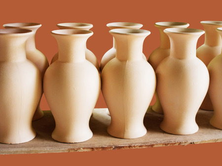decoraton: Small handmade ceramic vases for flowers.