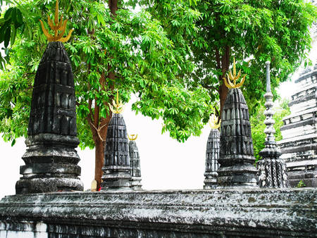 Prangs are buildings considered work of Khmer architecture with the belief of Hinduism. The top ends are metal molded 4 pointed blade with a spear.