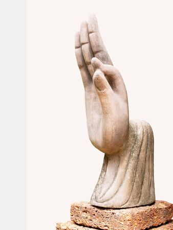 crimping: A sculpture of right hand  with the thumb and index finger touching together.