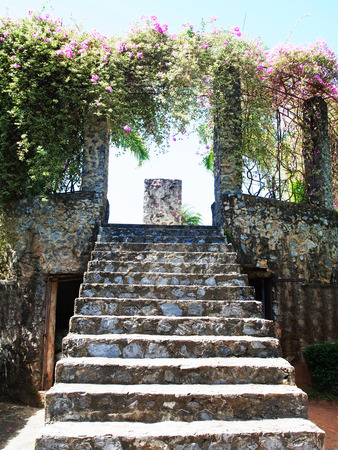 concrete steps: Concrete steps decorated with stones leads to flowering archway .