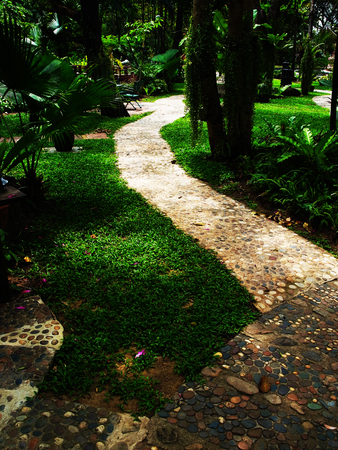 liked: A garden path made from small rocks and concrete curved across a forest - liked garden.