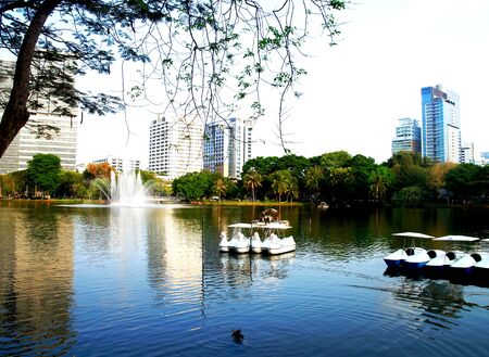 lumpini: The scenery of lake , fountain and other facilities in Lumpini park , Thailand. Stock Photo