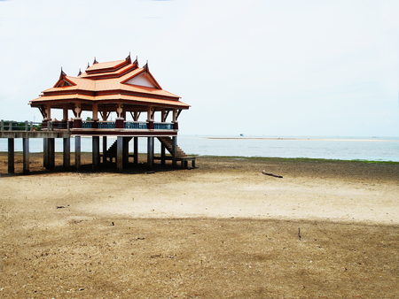 beachfront: A public rest - house designed in Thai style on a beachfront . Stock Photo