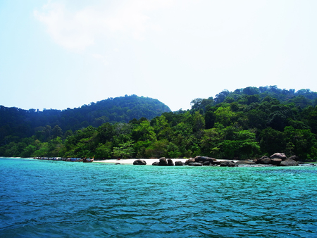 andaman sea: The scenery of islands , gloden beach , boats and rocks in Andaman Sea.