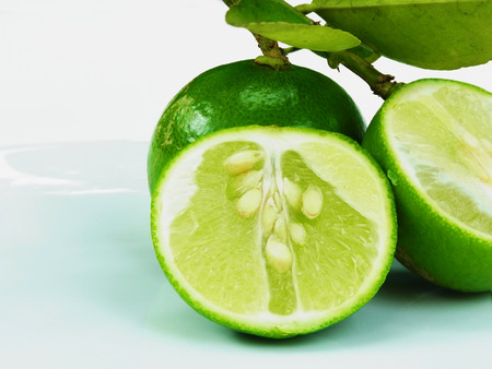 acidic: Cross section of a lime to demonstrate acidic juice vesicles. Stock Photo